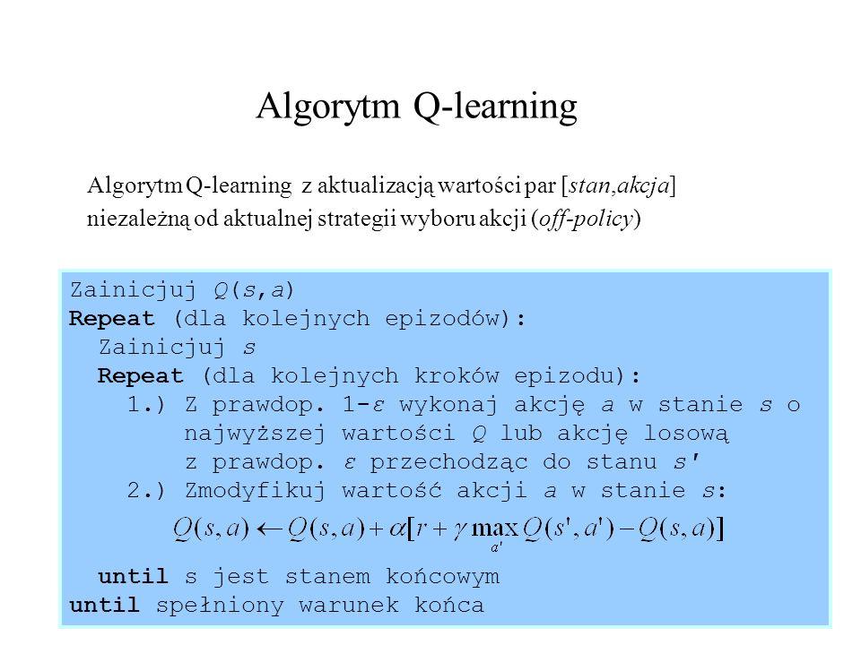 Algorytm Q-learningAlgorytm Q-learning z aktualizacją wartości par [stan,akcja] niezależną od aktualnej strategii wyboru akcji (off-policy)